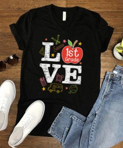 Love 1st Grade Apple Funny Back To School Teacher T Shirt