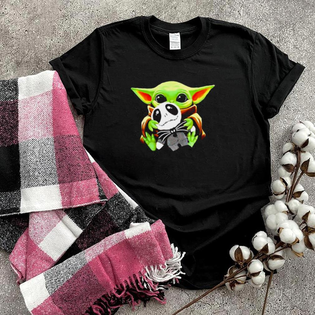 Baby Yoda hugs Jack Skellington Halloween shirt