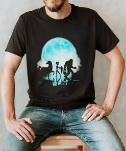 Bigfoot fishing with alien unicorn shirt