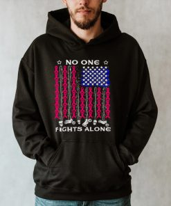 Breast Cancer American flag no one fights alone shirt