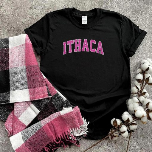Ithaca New York NY Vintage Sports Design Pink T Shirt