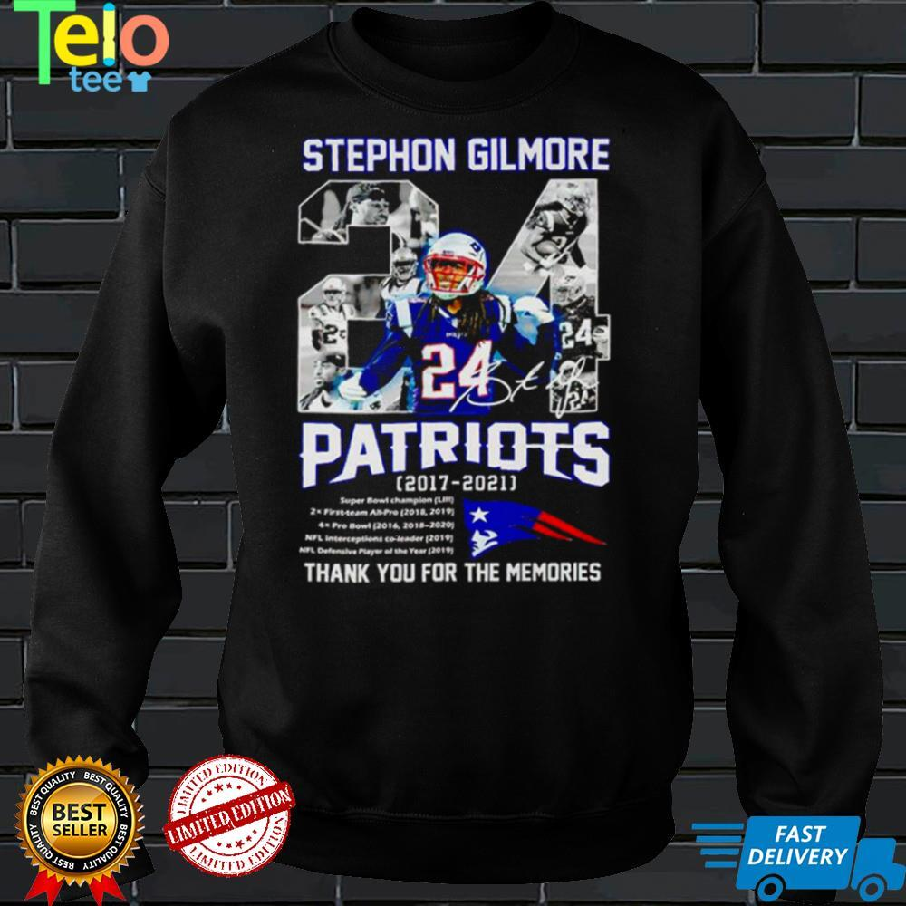 24 Stephon Gilmore signature Patriots 2017 2021 thank you for the memories shirt