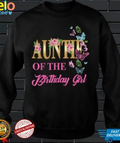 Auntie First Birthday Matching Family Butterfly Floral T Shirt