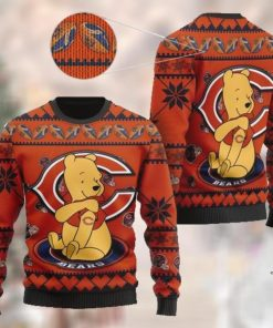 Chicago Bears NFL American Football Team Logo Cute Winnie The Pooh Bear 3D Ugly Christmas Sweater Shirt For Men And Women On Xmas Days