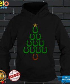Christmas Horseshoe Tree Horse Lovers Costume Christmas Tree Pullover Hoodie