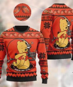 Cleveland Browns NFL American Football Team Logo Cute Winnie The Pooh Bear 3D Ugly Christmas Sweater Shirt For Men And Women On Xmas Days