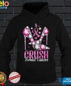 Crush Breast Cancer Awareness Bling Pink Ribbon T Shirt
