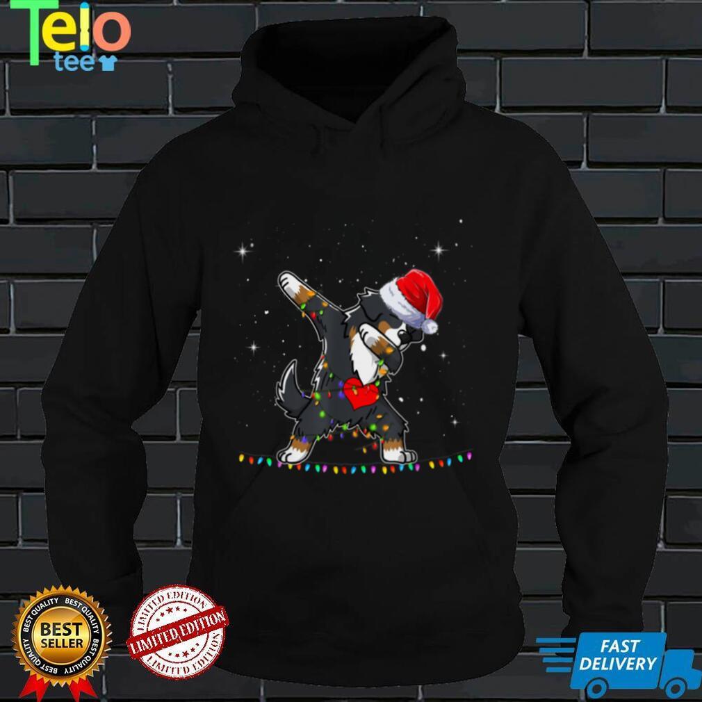 Dabbing Bernese Dog Santa Christmas Lights Xmas Boys Kids T Shirt