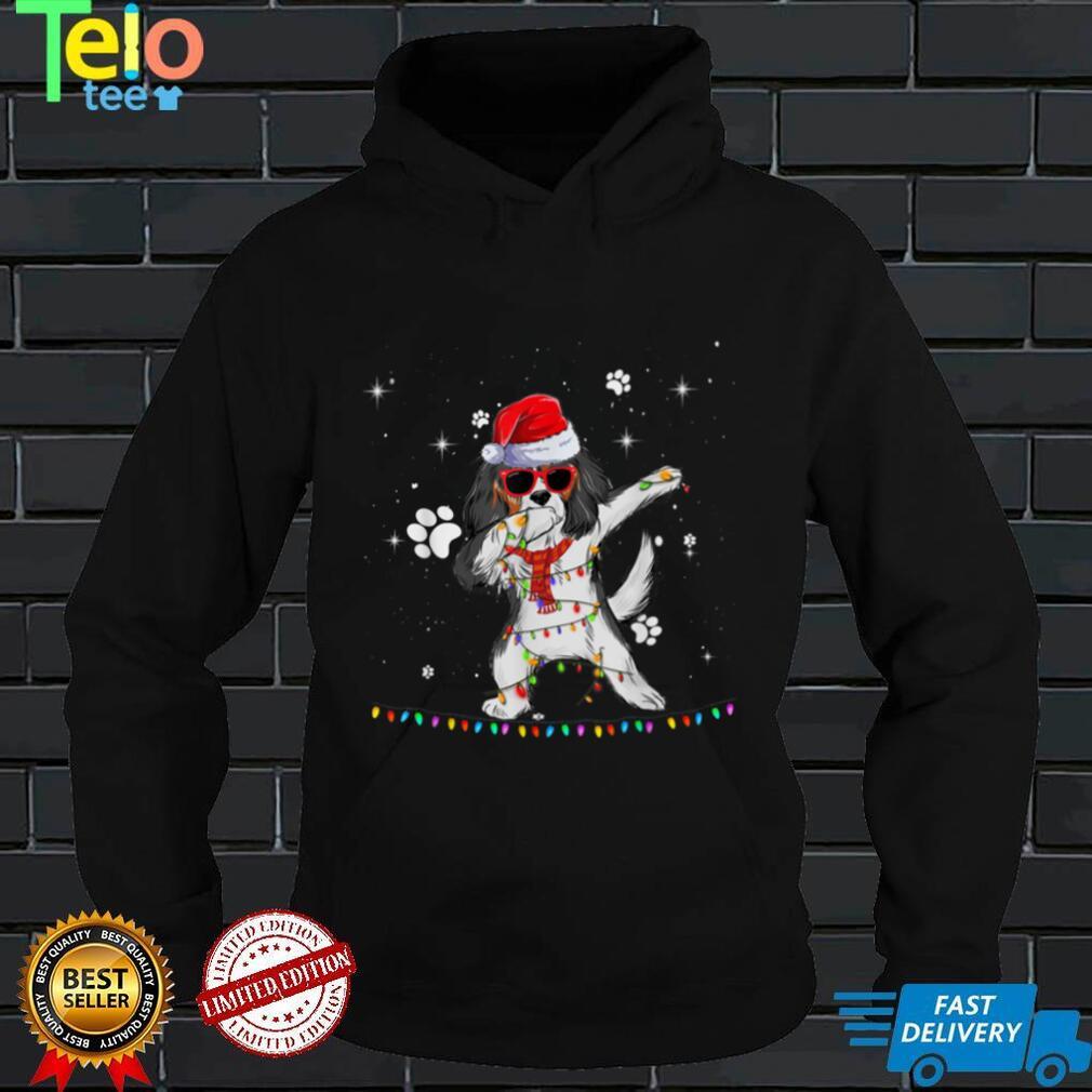 Dabbing Cavalier King Santa Christmas Lights Xmas Boys Kids T Shirt