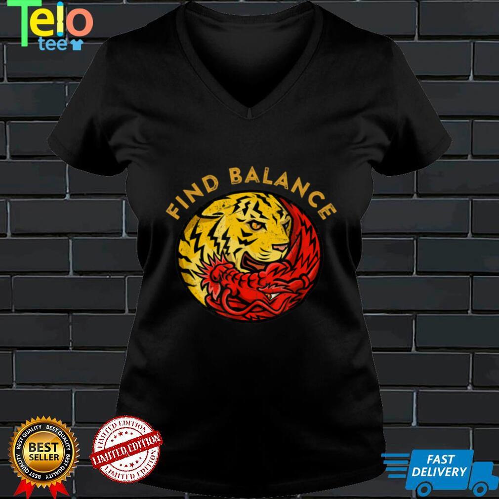 Find Balance Tiger Dragon Yin Yang Symbol Yoga Meditation T Shirt
