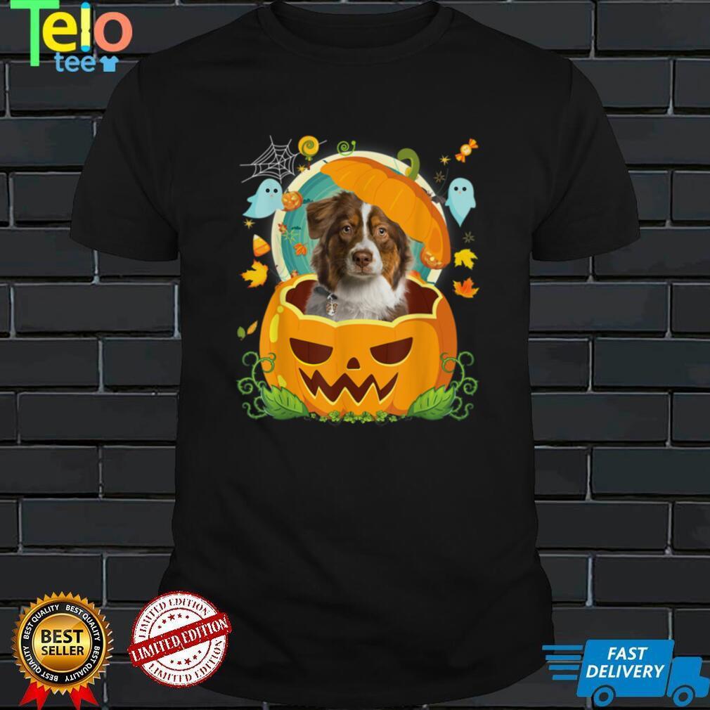 Happy Halloween Pumpkin Aussie Dog Witch Cute Hat Lover T Shirt