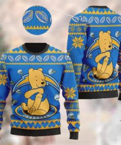 Los Angeles Chargers NFL American Football Team Logo Cute Winnie The Pooh Bear 3D Ugly Christmas Sweater Shirt For Men And Women On Xmas Days