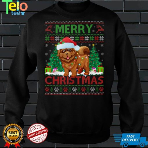 Merry Christmas Lighting Ugly Chow Chow Christmas T Shirt