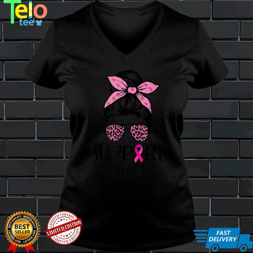 Support Squad Messy Bun Leopard Pink Breast Cancer Awareness T Shirt