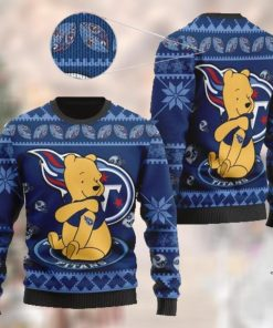Tennessee Titans NFL American Football Team Logo Cute Winnie The Pooh Bear 3D Ugly Christmas Sweater Shirt For Men And Women On Xmas Days