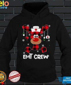 Women Buffalo Plaid Reindeer EMT Crew Nurse Christmas 2021 T Shirt