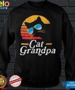 Womens Cat Grandpa Vintage Eighties Style Cat Retro Sunglasses V Neck T Shirt