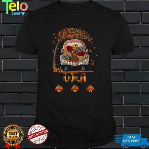 Womens Hello Fall Thanksgiving Lola Gift Funny Turkey Truck Tank Top