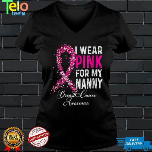 Womens I Wear Pink For My Nanny Breast Cancer Awareness Survivor V Neck T Shirt