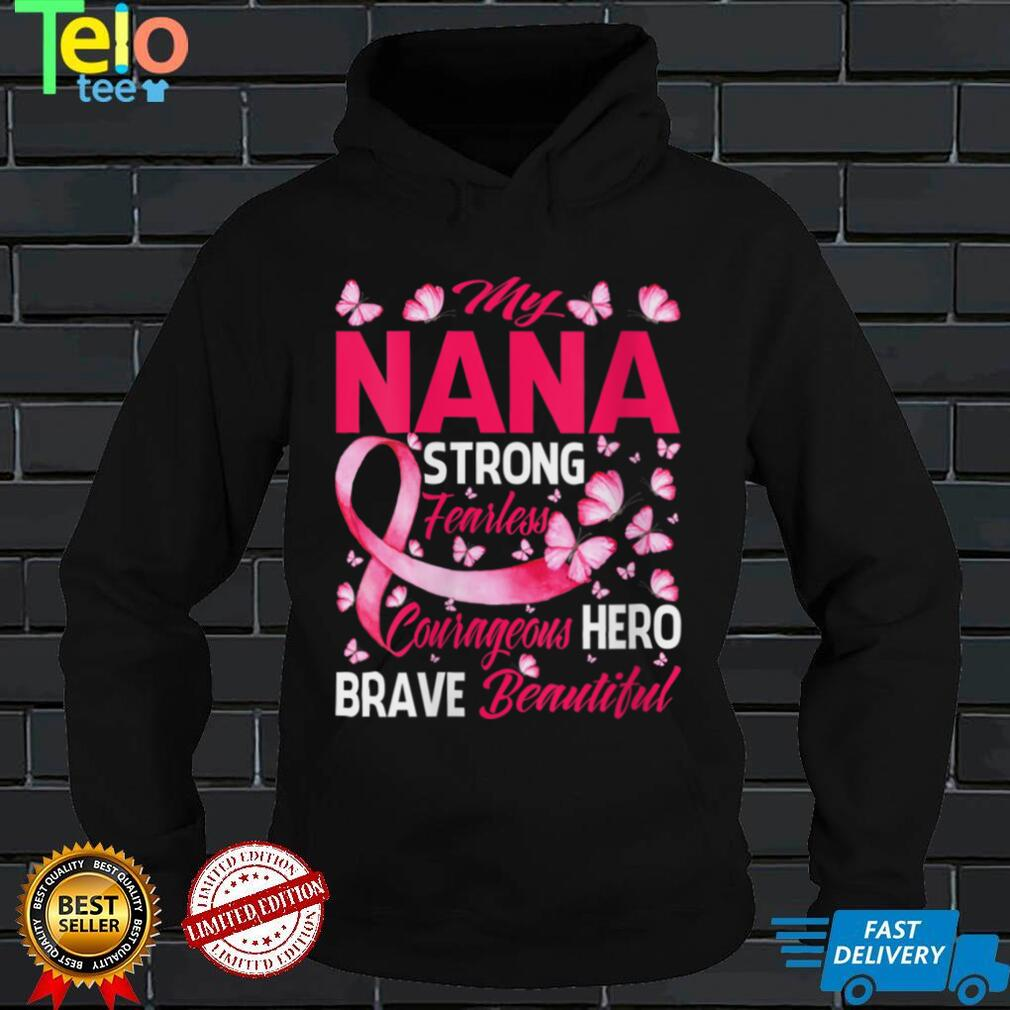 Womens My Nana Pink Ribbon Warrior Inspirational Breast Cancer V Neck T Shirt