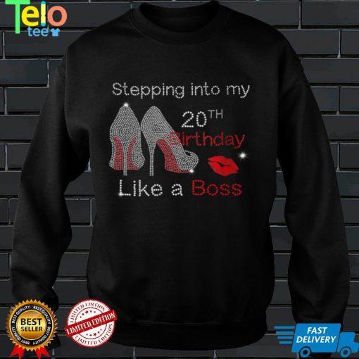 Womens Stepping Into My 20th Birthday Like A Boss Bday Gift Women V Neck T Shirt